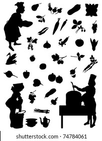 Silhouettes cook vegetables and fruits