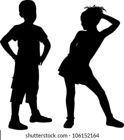 Silhouettes of couple