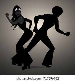 Silhouettes of couple dancing soul, funky or disco. Retro style.