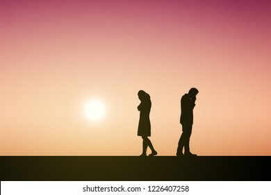 Silhouettes of couple man and woman broken heart or break up relationship. In nature sunset. Love concept. Eps10 Vector illustration.