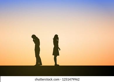 Silhouettes of couple man and woman broken heart. In nature sunset, sky background. Couple break up relations of love concept. Eps10 Vector illustration.