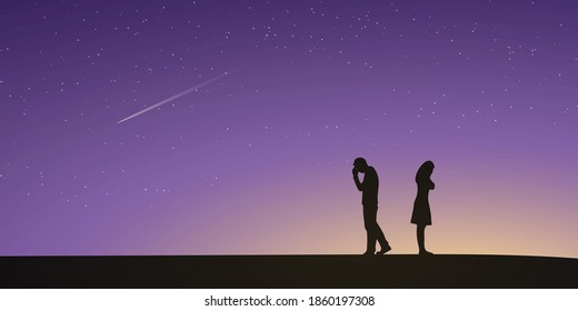 Silhouettes of couple man and woman broken heart. Night sky and stars as background. Love concept. Vector illustration.