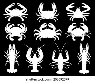 Silhouettes of crabs, vector