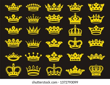 Silhouettes crowns set. Vector