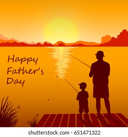 Silhouettes of dad and son fishing on the sunset together. Happy Father's Day card. Vector illustration in eps10 format.