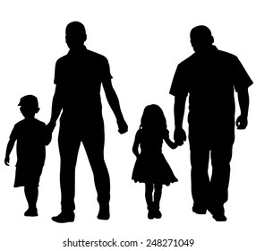 silhouettes of dads with kids