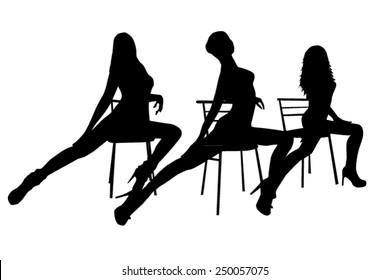 Silhouettes dance girls