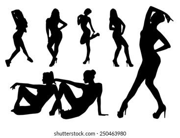 Silhouettes dance girls design