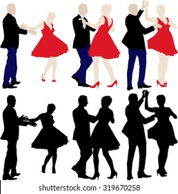 silhouettes of dancers