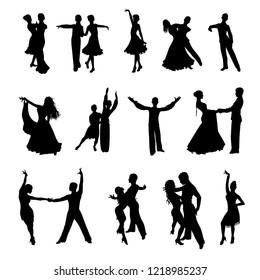 silhouettes of dancing couples on white background vector