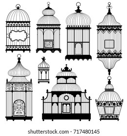 Silhouettes of a decorative vintage bird cages. Set of vector silhouettes on white background