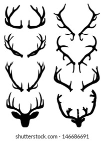 Silhouettes of deer horns 2-vector