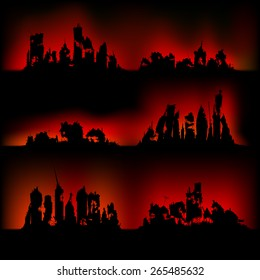 Silhouettes destroyed cities on fire
