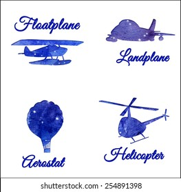 silhouettes of different aircrafts, set of watercolor illustrations, stickers and cards elements