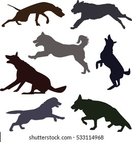 Silhouettes of different dog breeds. Set of dog silhouettes doing different activities. Dog jumping, running, barking.