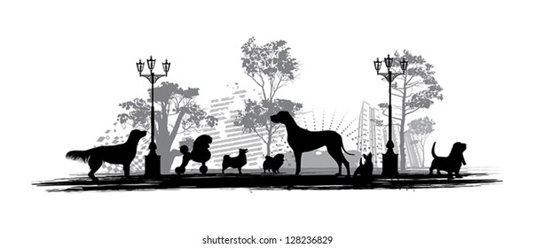 Silhouettes of different dogs
