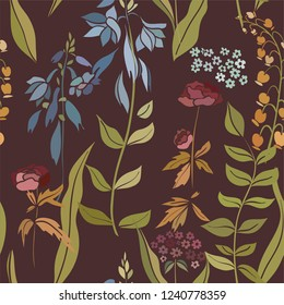 Silhouettes of different flowers and leaves hand drawn. Vector floral seamless background pattern in retro style for wallpaper, textile prints, fabric.