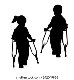 Silhouettes of disabled people, children-vector