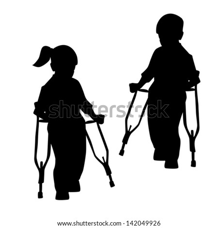 Silhouettes Disabled People Childrenvector Stock Vector ...