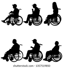 Silhouettes disabled in a wheel chair on a white background