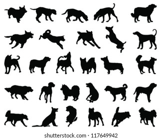 Silhouettes dog breeds 2-vector