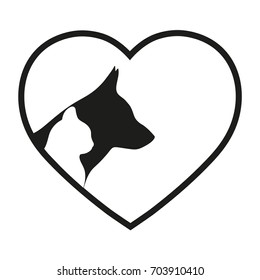 silhouettes of a dog and a cat on a background of the heart