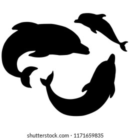 Silhouettes of dolphins on a white background. the family of dolphins