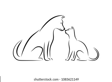Silhouettes of domestic animals, cat and dog.