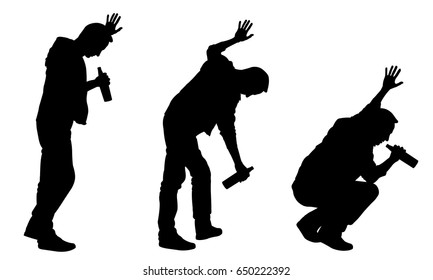 silhouettes of drunk men leaning on wall isolated