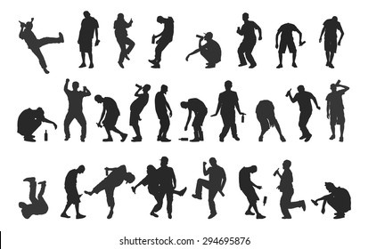 Silhouettes of drunk people