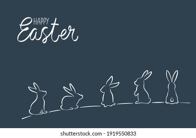 Silhouettes of Easter bunnies on a dark background.
