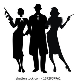 Silhouettes of elegant criminal trio in retro style, armed with pistol and submachine gun, isolated on white background. Classic film noir style.
