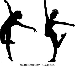 Silhouettes enjoy girls
