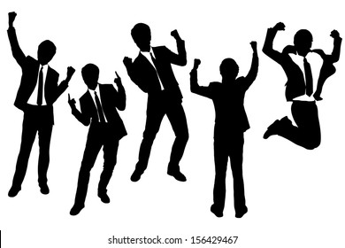 Silhouettes of excited happy Businessmen with white background
