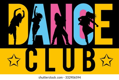 Silhouettes of expressive girls dancing modern dance styles inside lettering dance club