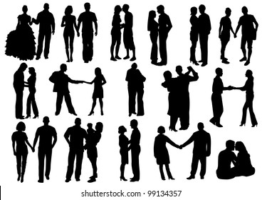 Silhouettes of Falling in love.  Man and woman in love: hug, kiss, hold on to the hands, dance