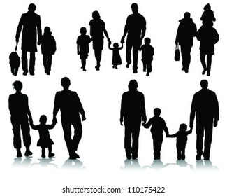silhouettes of families walking 2-vector