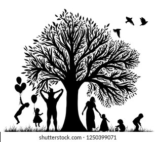 Silhouettes of family and beautiful tree with birds. Vector