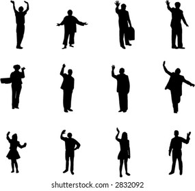 silhouettes with farewell and welcome gesture