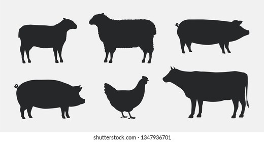 Silhouettes of Farm Animals. Cow, Pig, Sheep, Lamb, Hen. Farm Animals icons isolated on white background. Vector livestock icons.