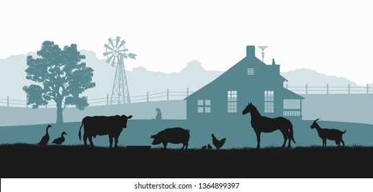 Silhouettes of farm animals. Rural landscape with cow, horse and pig. Village panorama for poster. Farmer house and livestock. Vector illustration