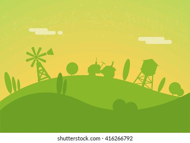 Silhouettes of farm background. Tractor rides through the hills. Windmill and water tower