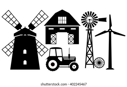 Silhouettes of farm buildings on white background.