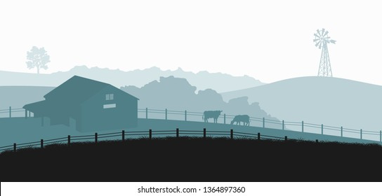 Silhouettes of farm landscape. Rural panorama of runch with cow on meadow. Village scenery for poster. Farmer house and livestock. Vector illustration