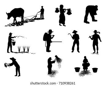 Silhouettes farmer cartoon shape vector design