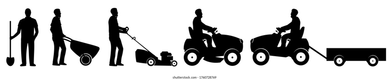 Silhouettes of farmers with a shovel, a wheelbarrow, a manual lawn mower, a large lawnmower and a mini tractor with a trailer. Set of lat vector illustration  isolated on white background.