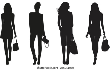 Silhouettes of Fashion women on white background. Vector