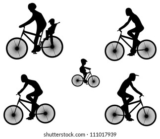 Silhouettes of fiber bike with cyclists.