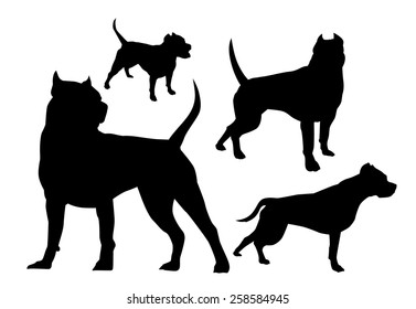 silhouettes fighting dogs