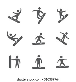 Silhouettes of figures snowboarder icons set. Snowboard vector symbols